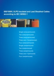 600/1000V, XLPE Insulated and Lead Sheathed Cables according to IEC 60502-1
