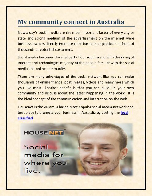 My community connect in Australia