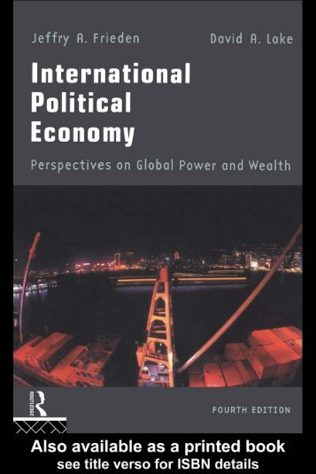 POLITICAL ECONOMY International political economy Perspectives on global power and wealth