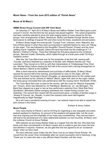 """Music News – From the June 2012 edition of """"Parish News"""" Music at ..."""