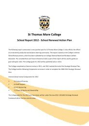 School Renewal Action Plan - St Thomas More College