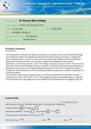 ANNUAL SCHOOL REPORTING – 2012 - St Thomas More College