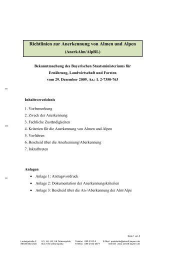Richtlinien zur Anerkennung von Almen und Alpen - Bayerisches ...