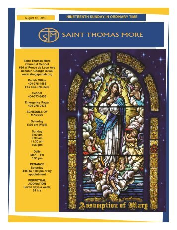 NINETEENTH SUNDAY IN ORDINARY TIME - Saint Thomas More