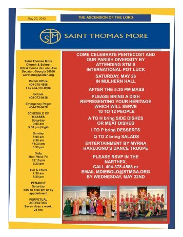 come celebrate pentecost and our parish diversity by attending stm's ...