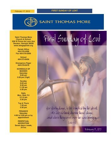 FIRST SUNDAY OF LENT - Saint Thomas More