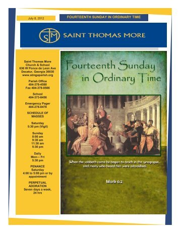 FOURTEENTH SUNDAY IN ORDINARY TIME - Saint Thomas More