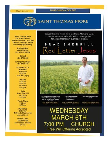 WEDNESDAY MARCH 6TH - Saint Thomas More