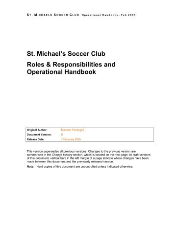 St. Michael's Soccer Club Roles & Responsibilities and Operational ...