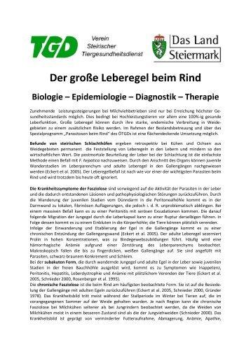 Merkblatt - Der große Leberegel beim Rind Biologie – Epidemiologie