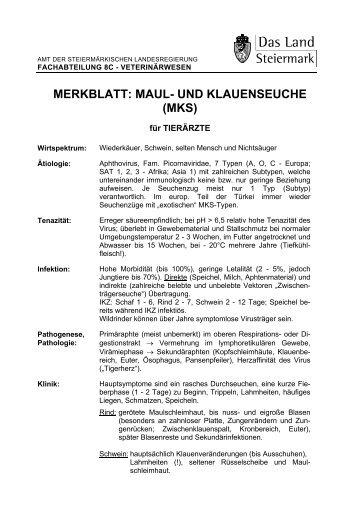 MERKBLATT: MAUL- UND KLAUENSEUCHE (MKS)