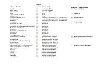 Diagnoseschlüssel 2 - Vollständige Auflistung