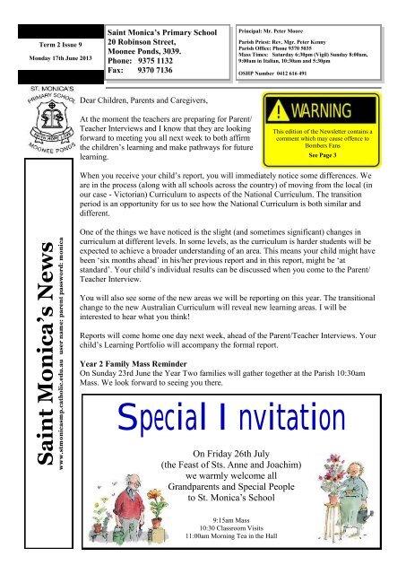 17th Jun - St Monica's Primary School - Moonee Ponds