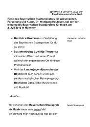 Rede des Bayerischen Staatsministers für Wissenschaft, Forschung ...