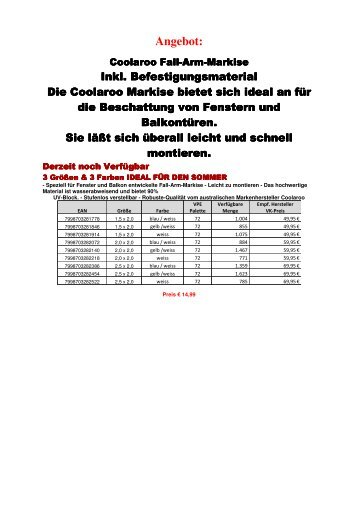 Angebot Coolaroo Markisen - stock-de