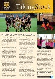 Taking Stock issue 50, winter 2011/2012 - Stockport Grammar School