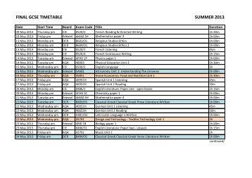final gcse timetable summer 2013 - Stockport Grammar School