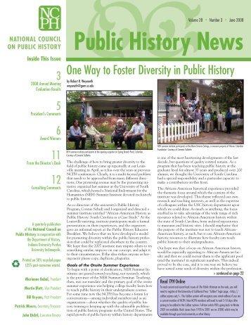 Vol. 28 No. 3 June 2008 - National Council on Public History