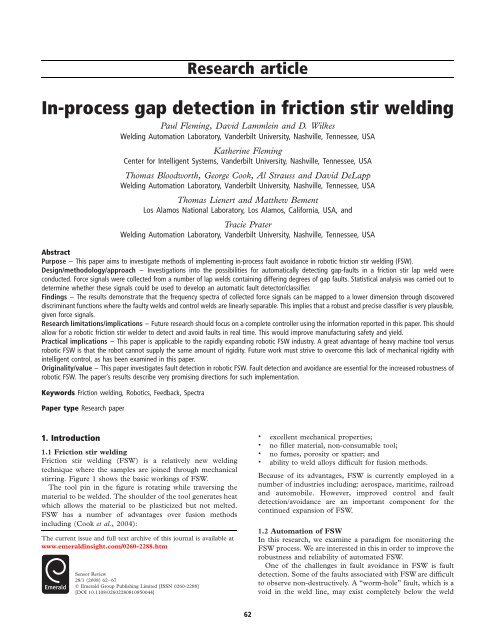 In-process gap detection in friction stir welding - Emerald