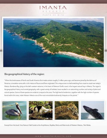 Bio-geographical history of the region: - Imanta Resorts