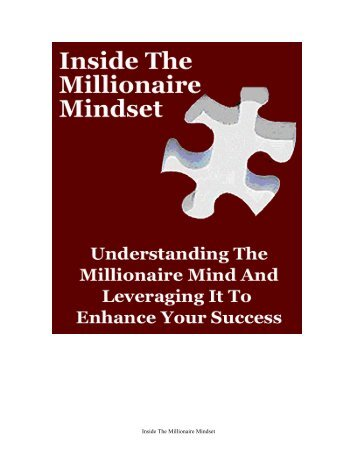 Inside The Millionaire Mindset - Affirmyourlife.co.uk
