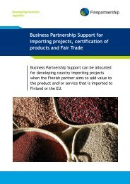 Business Partnership Support for importing ... - Finnpartnership