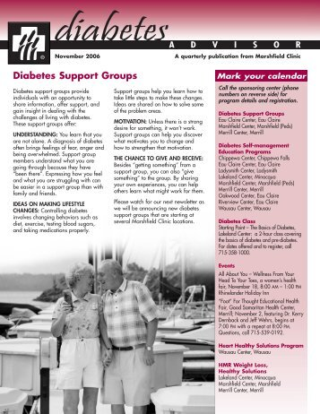 Diabetes Support Groups - Marshfield Clinic