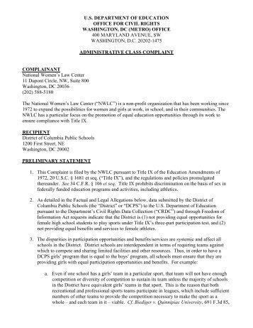 Complaint - National Women's Law Center