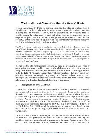 essay on ricci v. destefano Ricci v stefano and diversity this research paper describes the supreme court case ricci v destefano, which involves a decision made by the.