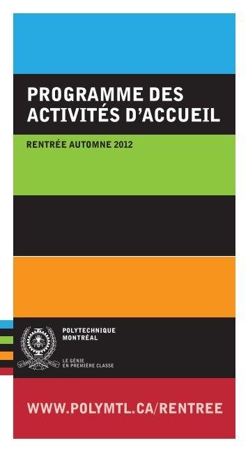 programme des activités d'accueil - École Polytechnique de Montréal