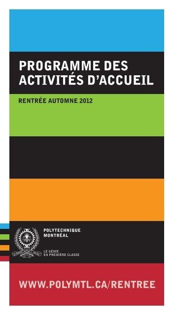 Programme Des Activites Daccueil