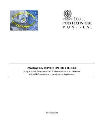 evaluation report on the exercise - École Polytechnique de Montréal