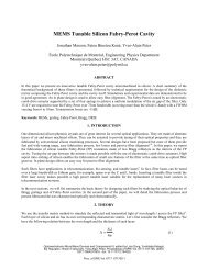 MEMS Tunable Silicon Fabry-Perot Cavity - École Polytechnique de ...