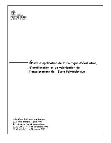 Guide d'application de la politique d'évaluation, d'amélioration et de ...