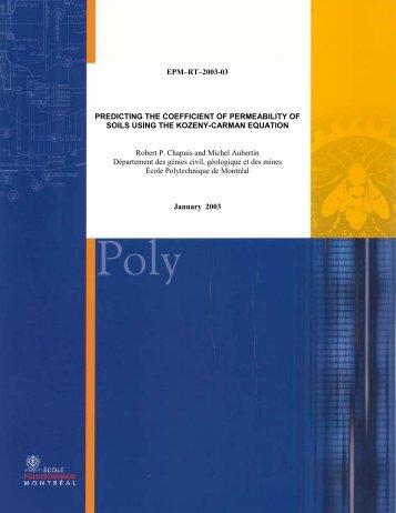 Evaluation of the Kozeny-Carman equation - École Polytechnique ...