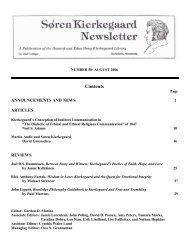 Soren Kierkegaard Newsletter 50 – August 2006 - St. Olaf College