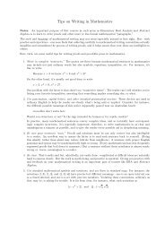 Tips on Writing in Mathematics - St. Olaf College
