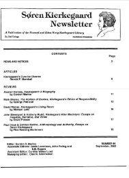 Sdren Kierkegaard Newsletter - St. Olaf College