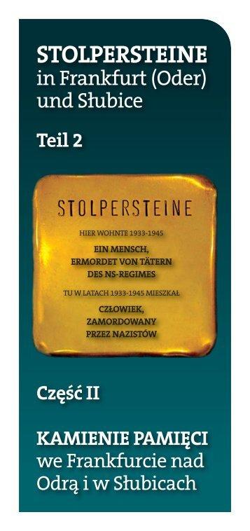 STOLPERSTEINE - Virtueller Spaziergang durch Frankfurt