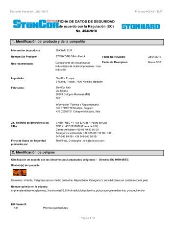 EU/GHS MSDS - StonCor Europe