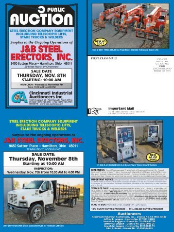 J&B Steel Erectors, Inc. Thursday, November 8th, 10:00 AM