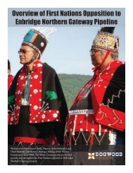 Overview of First Nations Opposition to Enbridge Northern Gateway ...