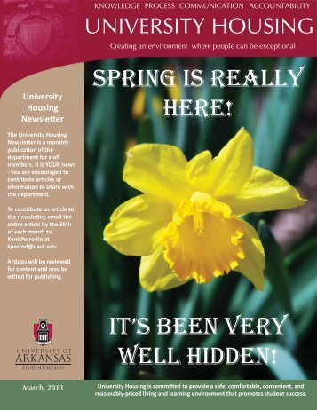 March 2013.indd - University Housing - University of Arkansas