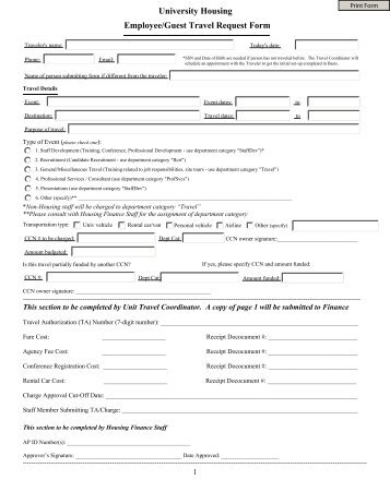 Travel Request Form Instructions