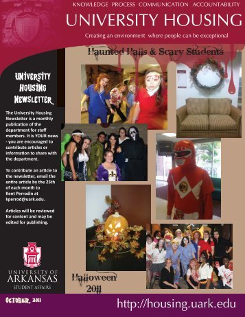 October, 2011 - University Housing - University of Arkansas