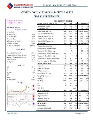 công ty cổ phần khoan và dịch vụ dầu khí một số chỉ tiêu chính