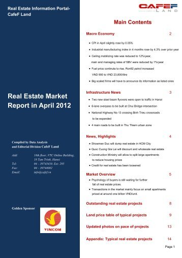 Real Estate Market Report in April 2012 - CafeF