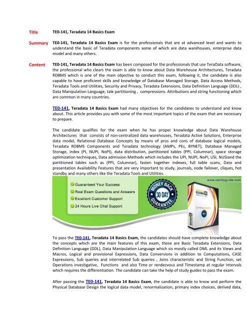 TE0-141 Test Practice Questions PDF