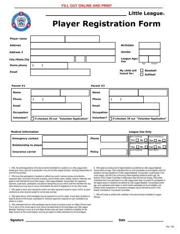 team player registration forms louisiana youth sports network. Black Bedroom Furniture Sets. Home Design Ideas