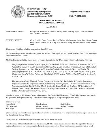 Zoning Board of Adjustment Minutes for 06/25/2012 - Dunn County